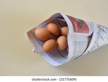 Brisbane Australia February 19, 2019: Uncommon Easter design with eggs in the newspaper cone.