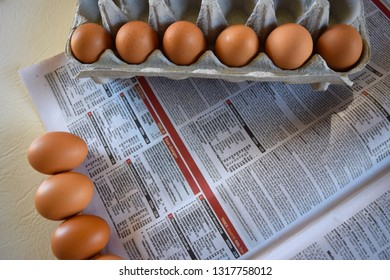Brisbane Australia February 19, 2019: Uncommon Easter design with eggs on a newspaper.