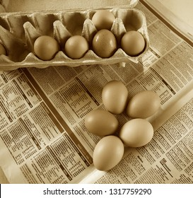 Brisbane Australia February 19, 2019: Uncommon Easter design with eggs on the newspaper sepia image.