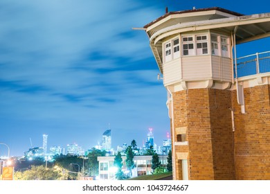 Brisbane, Australia - Friday 9th March, 2018: View of Boggo Road Goal at night in Brisbane on Friday 9th March 2018.