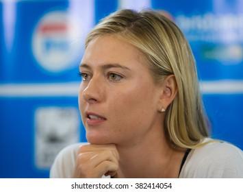BRISBANE, AUSTRALIA - JANUARY 1 :Maria Sharapova talks to the media at the 2016 Brisbane International WTA Premier tennis tournament