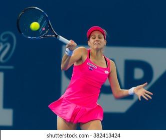 BRISBANE, AUSTRALIA - JANUARY 4 :Jana Cepelova in action at the 2016 Brisbane International WTA Premier tennis tournament