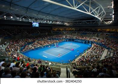 BRISBANE, AUSTRALIA - JANUARY 5 :Ambiance inside Pat Rafter Arena at the 2016 Brisbane International WTA Premier tennis tournament