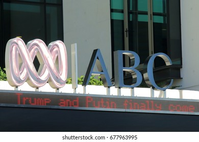BRISBANE AUSTRALIA - JULY 8, 2017: ABC broadcasting Australia. ABC broadcasting is Australias national public broadcaster, owned and funded by the government.