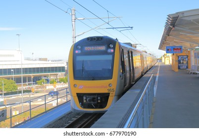 BRISBANE AUSTRALIA - JULY 8, 2017: Train to Brisbane downtown at Brisbane airport train station Australia.