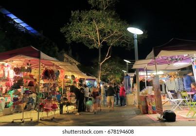 BRISBANE AUSTRALIA - JULY 8, 2017: Unidentified people visit Collective night market.