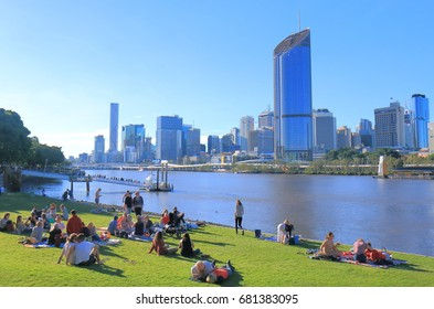BRISBANE AUSTRALIA - JULY 8, 2017: Unidentified people visit Southbank Brisbane.