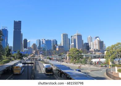 BRISBANE AUSTRALIA - JULY 8, 2017: Brisbane downtown skyscrapers cityscape.