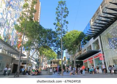 BRISBANE AUSTRALIA - JULY 9, 2017: Unidentified people visit Queen Street mall in downtown Brisbane.