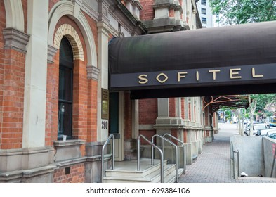 Brisbane, Australia - July 9, 2017: Sofitel Brisbane Central is a 5-star luxury hotel owned by the Accor hotel group.