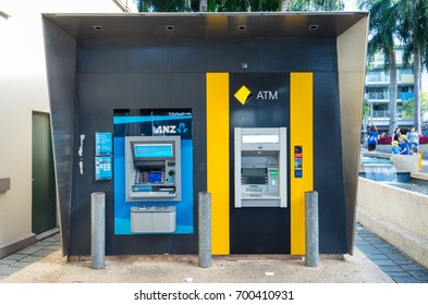 Brisbane, Australia - July 9, 2017: ANZ and Commonwealth Bank of Australia automatic teller machines. ANZ and Commonwealth Bank are two of Australia's largest banks.