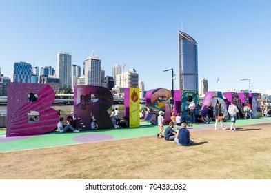 Brisbane, Australia - July 9, 2017: giant Brisbane sign on the South Bank promenade by the Brisbane River.
