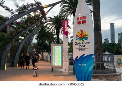Brisbane, Australia - July 9, 2017: a surfboard themed countdown clock on South Bank, counting down to the 2018 Gold Coast Commonwealth Games
