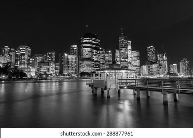 BRISBANE, AUSTRALIA - JUNE 12 2015: Brisbane City nightcape and ferry terminal at Kangaroo Point. Black & White