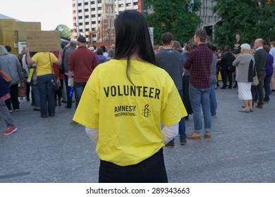 BRISBANE, AUSTRALIA - JUNE 20: Amnesty International volunteer at World Refugee Day