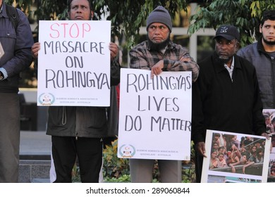 BRISBANE, AUSTRALIA - JUNE 20 : Burmese Rohingya Association members protesting as part of World Refugee Rally