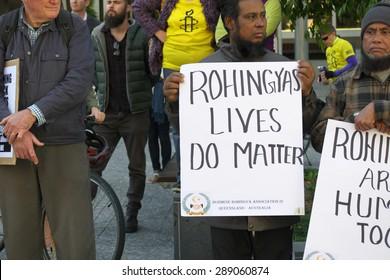 BRISBANE, AUSTRALIA - JUNE 20 : Burmese Rohingya Association members protesting as part of World Refugee Rally