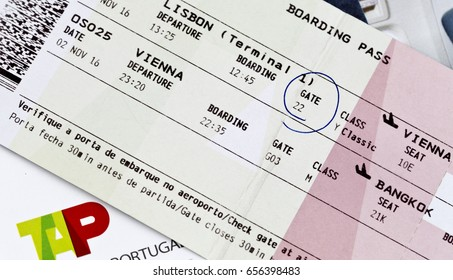 BRISBANE, AUSTRALIA – JUNE 3, 2017: Illustrative editorial image of a boarding pass for air travel