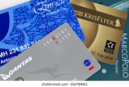 BRISBANE, AUSTRALIA – JUNE 3, 2017: Illustrative editorial collage showing a number of frequent flyer cards from major world airlines