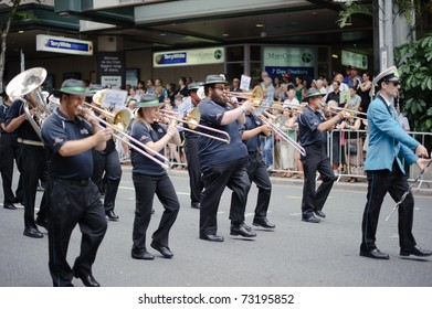 BRISBANE, AUSTRALIA - MAR 12: A band perform to celebrate St Patrick's day on Mar 12, 2011 at the Elizabeth st, Brisbane, Australia. St Patrick's day becomes a secular celebration of Irish culture.