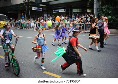 BRISBANE, AUSTRALIA - MAR 12: Unidentified children dressed as Pierrot march to celebrate St Patrick's day on Mar 12, 2011 at the Elizabeth st, Brisbane, Australia.