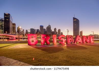 Brisbane, Australia- March 19, 2018:Letters sign in Brisbane, South Bank Parkland, Australia