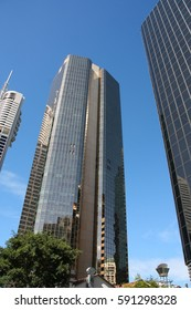 BRISBANE, AUSTRALIA - MARCH 22, 2008: AMP Place building (middle) in Brisbane, Australia. The 135m tall building is among 20 tallest in Brisbane (2013).