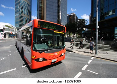 BRISBANE, AUSTRALIA - MARCH 22: People ride the free bus on March 22, 2008 in Brisbane, Australia. Brisbane Buses had record 78.76 million passengers in financial year 2010-11.