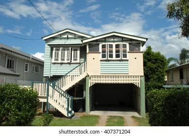 BRISBANE, AUSTRALIA, May 13, 2016: Frontal view of a Queenslander house in Brisbane, Queensland