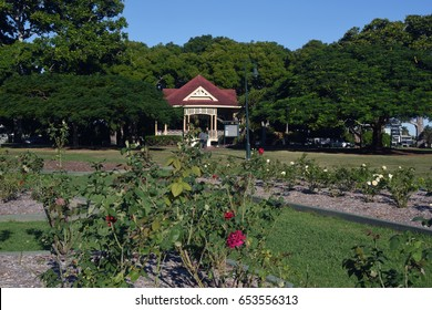 Brisbane, Australia. May 2017 - editorial use only: New Farm Park rose gardens and bandstand rotunda
