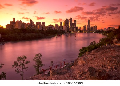Brisbane, Australia - May 24th, 2014: View from Kangaroo point in Brisbane where tourists visit to see the city and families bbq.