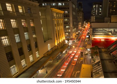 Brisbane, Australia - May 24th, 2014: Edward street in Brisbane city CBD in peak hour.