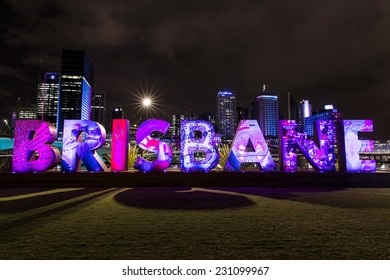 BRISBANE, AUSTRALIA - NOVEMBER 13 2014: Brisbane sign for G20 Cultural Celebrations at South Bank