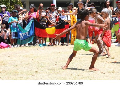 BRISBANE, AUSTRALIA - NOVEMBER 14: Unidentified Aboriginal dancers at deaths in custody g20 protest on November 14, 2014 in Brisbane, Australia