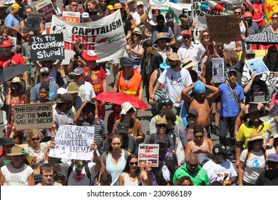 BRISBANE, AUSTRALIA - NOVEMBER 15: Briscan20 anti government anti g20 protest on November 15, 2014 in Brisbane, Australia