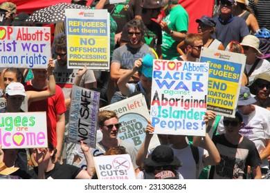 BRISBANE, AUSTRALIA - NOVEMBER 15: Briscan20 anti government anti g20 protest on November 15, 2014 in Brisbane, Australia