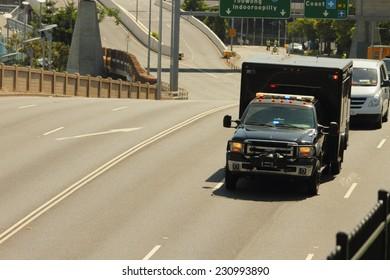 BRISBANE, AUSTRALIA - NOVEMBER 15: President Obama motorcade from UQ visit g20 sumimit 15, 2014 in Brisbane, Australia