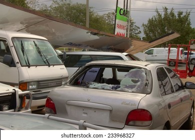 BRISBANE, AUSTRALIA - NOVEMBER 28 : Damage to car yard from super cell hail storm area declared disaster on November 28, 2014 in Brisbane, Australia