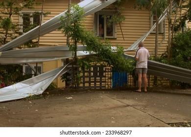 BRISBANE, AUSTRALIA - NOVEMBER 28 : Declared disaster from super cell hail storm area on November 28, 2014 in Brisbane, Australia