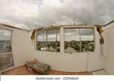 BRISBANE, AUSTRALIA - NOVEMBER 28 : Roof blown off unit from super cell hail storm area declared disaster on November 28, 2014 in Brisbane, Australia