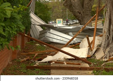 BRISBANE, AUSTRALIA - NOVEMBER 28 : Roof on footpath from super cell hail storm area declared disaster on November 28, 2014 in Brisbane, Australia