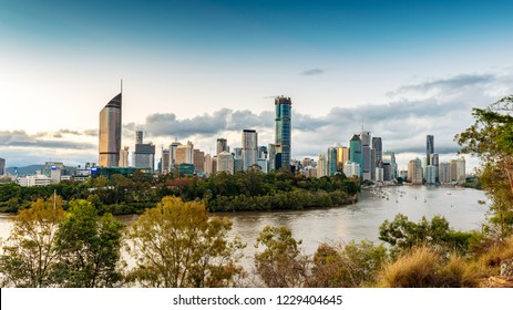 BRISBANE, AUSTRALIA, OCT 7 2018:View of Brisbane from Kangaroo Point over the river. Brisbane is the capital of QLD and the third largest city in Australia.