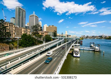 BRISBANE, AUSTRALIA - OCTOBER 09, 2012 : Brisbane city traffic along the Pacific Motorway