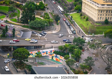 BRISBANE, AUSTRALIA - October 23, 2017 : Traffic in the city center of Brisbane
