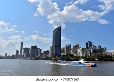 BRISBANE, AUSTRALIA, October 6, 2017: A Citycat ferry is sailing on the Brisbane River in Brisbane, Queensland