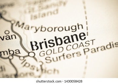 Brisbane. Australia on a map