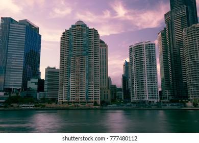 Brisbane, Australia - Saturday 16th December, 2017: View of Brisbane city skyscrapers and the Brisbane river on Saturday the 16th of December 2017.