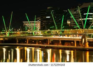 Brisbane, Australia - Saturday 18th August, 2018: View of Kurilpa Bridge and Brisbane City at night on Saturday 18th August, 2018.