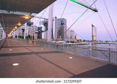 Brisbane, Australia - Saturday 18th August, 2018: View of Kurilpa Bridge and Brisbane City in the daytime on Saturday 18th August, 2018.