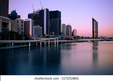 Brisbane, Australia - Saturday 18th August, 2018: View of Brisbane City and skyscrapers at night on Saturday 18th August, 2018.
